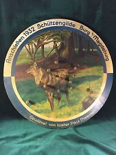 RARE! 1932 German Schutzengilde Shooting Club Elk/Deer Wood Tournament Target