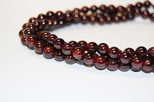 Genuine Garnet Gemstone Smooth Round Loose Beads 15.5'' Long/strand