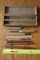 Drafting tool Box Wooden hinged artist box Vintage pencils glass tool ruler ++