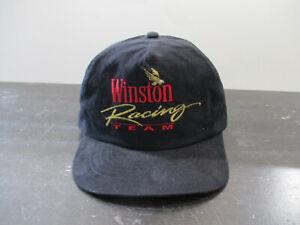VINTAGE Winston Hat Cap Snap Back Black Gold Cigarette Racing Adjustable Men 90s
