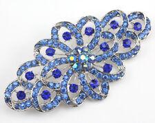 Bridal Wedding Brooch Pin Blue Ribbon Austrian Rhinestone Crystal