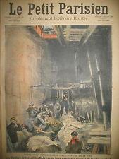 POMPIERS TRAVAUX DU METRO ACCIDENT CAISSON SOUTERRAIN LE PETIT PARISIEN 1908