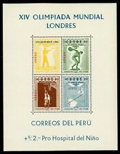 Peru note after Scott #C81a MNH S/S OVPT on OLYMPICS 1956 Melbourne CV$17+