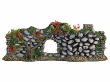 Cobble Stone Wall & Plants Aquarium Fish Tank Vivarium Ornament 33.5cm AQ28345