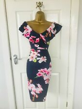 Navy Races Floral Bodycon V Neck Evening Stretch Party Wiggle Pencil Midi Dress