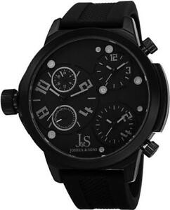 Joshua & Sons JS-40-BK Swiss Quartz Triple Time Zone Silicone Strap Mens Watch