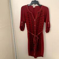 Tiny Women's Dress Red Tencel Embroidered Tab Sleeve Button Down Tie Waist Sz XS