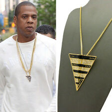 "ICED OUT PAPER PLANE JAY Z PENDANT 24"" BOX CHAIN NECKLACE 14K GOLD GP CZ HIP HOP"