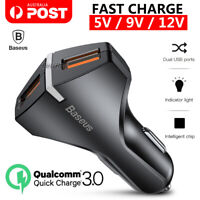 3A QC3.0 2 USB Fast Car Charger 12-24V Cigarette Lighter Galaxy S10 S9 Note 10