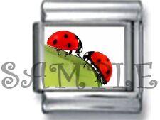 LOVER LADYBUGs 9MM ITALIAN PHOTO CHARM LINK couple love bug lady beetle ladybird