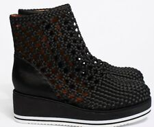 JEFFREY CAMPBELL FREE PEOPLE PERFORATED  BLACK SATIN ANKLE BOOTS  UK4 EU37 US6