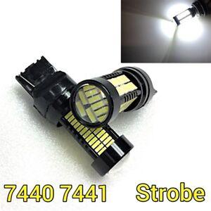 Strobe Flash Front Turn Signal T20 7440 w21w 108 SMD White LED Bulb M1 A MAR