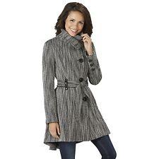 Women's Steve Madden Drama Coat Black/White Tweed M #NJHSI-G12