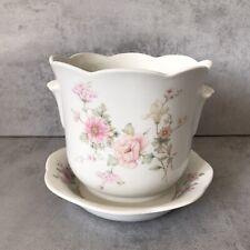 Vintage Plant Pot & Saucer Medium sized Floral kitsch