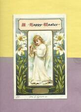 Lovely Full-Length ANGEL HOLDS HARP On NISTER PUB. Vintage 1909 EASTER Postcard