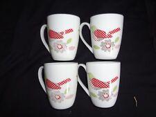 Set of 4 Multi Colour Patchwork Bird Design Tea/Coffee Mugs