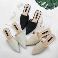 Summer Flats Mules Lady Sandals Slippers Serpentine Slip On Pointed Toe Shoes