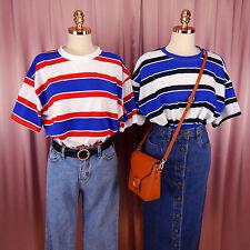 Striped Red Blue White Vintage Oversized T-shirt RED WHITE BLUE STRIPE