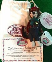 COTTAGE COLLECTIBLES Miniatures by Ganz WHISKERS Kitty Cat Overalls Pouch w/ COA