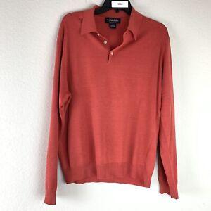 Brooks Brothers Mens Long Sleeve Silk Blend 1/4 Button Up L/S Shirt Size Medium