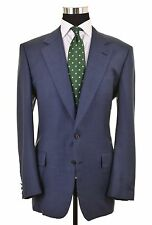 Chester Barrie Savile Row England Blue Woven Grid Check Sport Coat Jacket 46 R