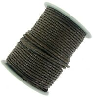 Decorative Plaited leather cord Black & Dark Brown 3 mm Round