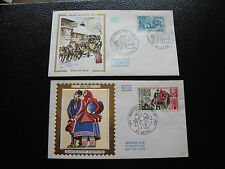 FRANCE - 2 enveloppes 1er jour 1973 (immigr polonaise/jou timbre) (cy85) french