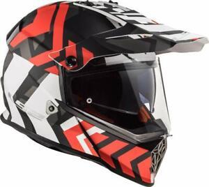 LS2 MX436 PIONEER ADVENTURE MOTORCYCLE HELMET Exteme Mat Blk/Wht/Red SMALL