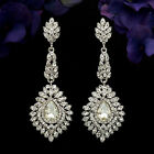 Rhodium Plated Clear Crystal Rhinestone Drop Wedding Dangle Earrings 5988 Prom