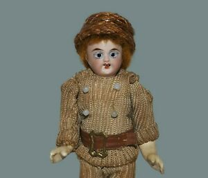 """ANTIQUE BISQUE SOCKET HEAD Blue Glass Eyes Jointed Original Clothes 5"""" BOY DOLL"""