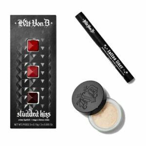 NIB SEPHORA KAT VON D 3 PC SET Beauty Insider Tattoo Liner, Setting Powder, Lip