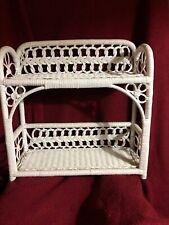 "White Woven Wicker Shelf Wall Hanging or Standing 2 Shelves 18""x17""x6.5"""