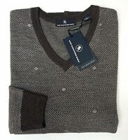 NWT $150 Hart Schaffner Marx LS Sweater Mens Size XL 100% Merino Wool Brown NEW