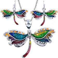 "Beautiful Dragonfly Pendant Necklace and Earrings Set with 24"" Chain"