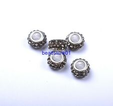20Pcs Big Hole Czech Crystal Rhinestone Pave Rondelle Spacer Beads Fit European