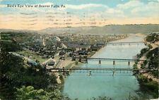 Beaver Falls Pennsylvania~Birds Eye View~River WithThree Bridges~1917 Postcard