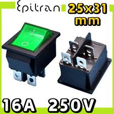 Interruttore bipolare 16A luminoso a bilanciere bilancere verde 220V 220 volt