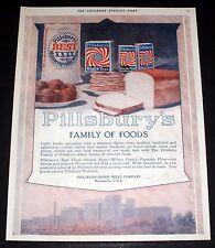 1919 OLD MAGAZINE PRINT AD, PILLSBURY'S FAMILY OF FOODS, LIGHT TENDER PANCAKES!