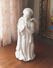 Joan Bero Victor White Ceramic Angel Figurine Flambro 1990 Taiwan Holiday Decor