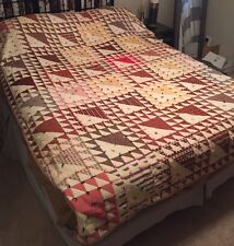Vintage Full/Queen Patchwork Quilt Hand Stitched Triangle Pattern Farmhouse
