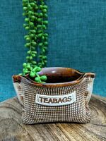 Vintage Australian Pottery Glazed Teabag Holder Handmade Hessian Sack Rustic
