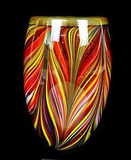CAMERON TOWER SIGNED ART GLASS MULTICOLOR PULLED FEATHER CASED 6 3/8 VASE 2009