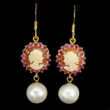 Round Red Ruby 2mm Pearl Mother Of Pearl Cameo 925 Sterling Silver Earrings