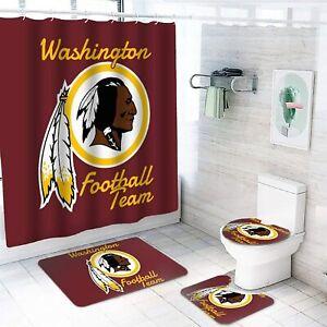 Washington Football Team Bathroom Rugs Set 4PCS Shower Curtain Toilet Lid Cover