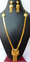 Indian 22K Gold Plated 12 Inch Long Fashion Necklace Earrings Weddings Set K