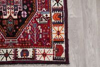 Tribal Geometric Abadeh Oriental Runner Rug Wool Red Hand-Knotted Nomad 4'x10'