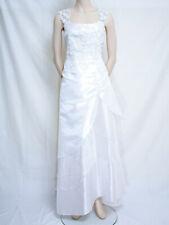 LONG WHITE STRAP DRESS EVENING PROM FLOWERS SEQUINS CHERLONE SIZE 14/16