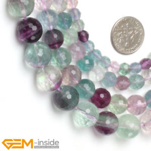 "Faceted Natural Fluorite Gemstone Loose Beads For Jewelry Making 15"" Rainbow AU"