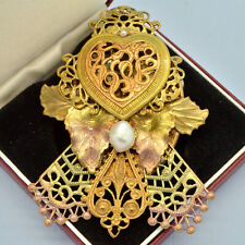 Vintage Brooch Large Rococo Style Cultured Pearl Enamel Goldtone Jewellery