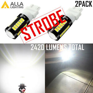 Alla Lighting 33-LED 3157 Legal STROBE White Back Up|Brake Light Bulb|Blinker